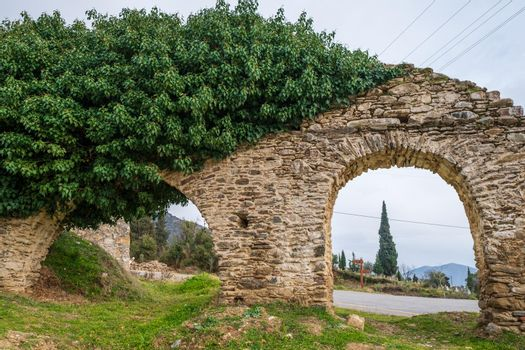 ancient arch with bricks and grass on the ground