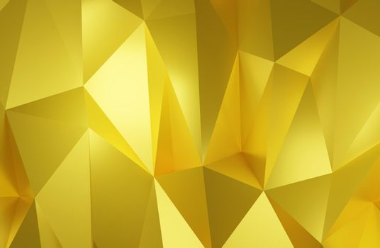 Abstract geometric pattern background polygonal gold triangular background 3d rendering.
