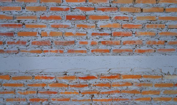 Empty old brick wall painted texture happy red-brown wall wide grunge brick wall shabby building with damaged plaster abstract web banner white copy space draped over.