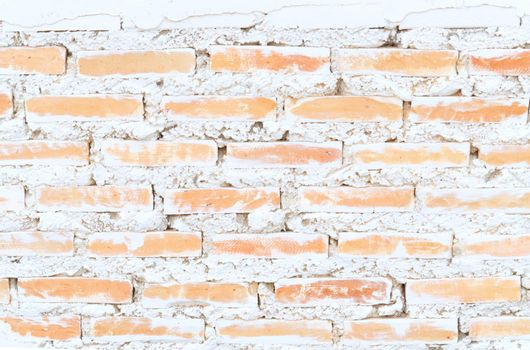 Empty old brick wall painted texture happy red-brown wall wide grunge brick wall shabby building with damaged plaster abstract web banner copy space