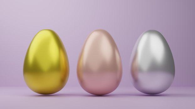 Luxury golden easter eggs isolated on pink background for easter festival 3d rendering.