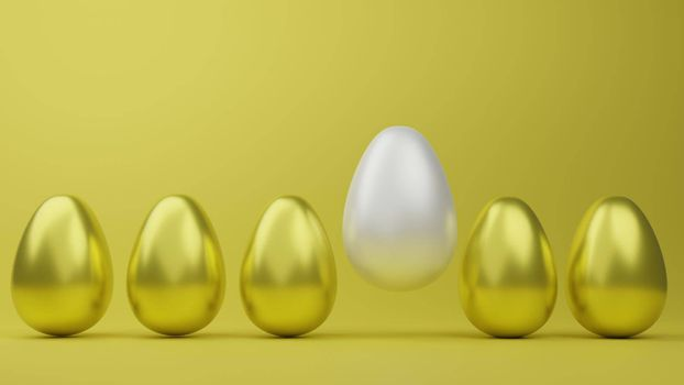 Abstract luxury golden easter eggs isolated on yellow background during easter festival 3d rendering.