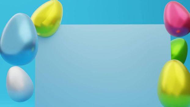 Top view Easter egg decoration and modern colors on blue background Copy space 3d rendering.