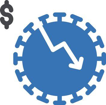 virus decrease vector glyph colour icon