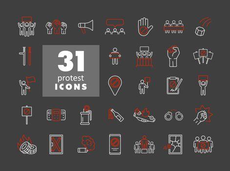 Protest, strike, revolution set vector flat icons