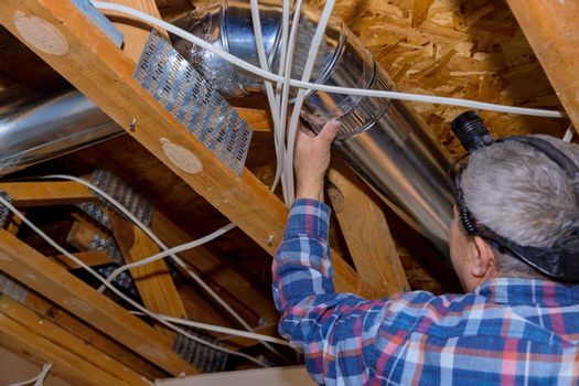 Remodelling system HVAC duct ventilation pipes the installation in central conditioning a ceiling inside home
