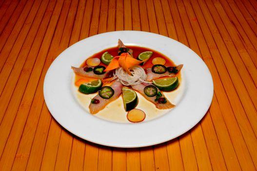 Delicioius Japanese dish known as Yellowtail Jalapeno Sashami