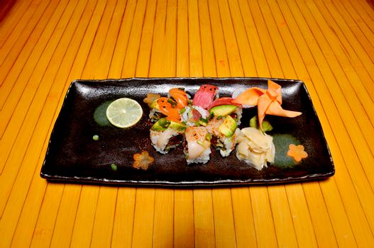 Traditional and authentic Japanese cusine know as a spicy toro Sushi