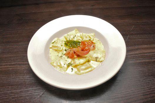 Authentic Italian cuisine known as Ravioli Alla Ragosta Di Livorno