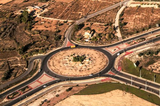 Aerial view of a roundabout in Spain