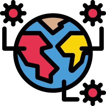 covid vector color line icon
