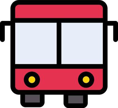 bus vector line colour icon