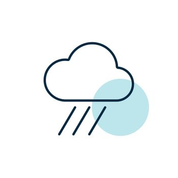 Raincloud vector isolated flat icon. Weather sign