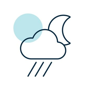 Raincloud with moon vector icon. Weather sign