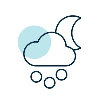 Moon cloud snow grain vector icon. Meteorology sign. Graph symbol for travel, tourism and weather web site and apps design, logo, app, UI