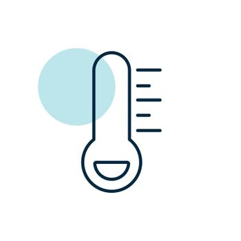 Thermometer frost cold vector icon. Meteorology sign. Graph symbol for travel, tourism and weather web site and apps design, logo, app, UI