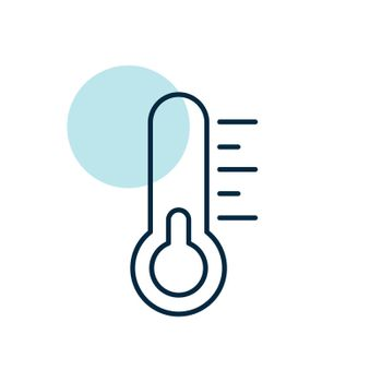Thermometer vector icon. Meteorology sign. Graph symbol for travel, tourism and weather web site and apps design, logo, app, UI
