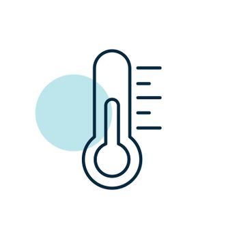 Thermometer heat vector icon. Meteorology sign. Graph symbol for travel, tourism and weather web site and apps design, logo, app, UI