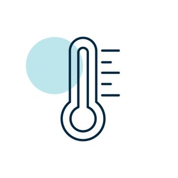 Thermometer heat hot vector icon. Meteorology sign. Graph symbol for travel, tourism and weather web site and apps design, logo, app, UI