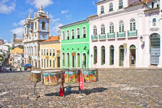 Salvador de Bahia, Pelourinho carnaval view with colorful buildings, Brazil, South America