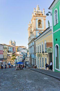 Salvador de Bahia, Pelourinho view with a  Colonial Church, Brazil, South America