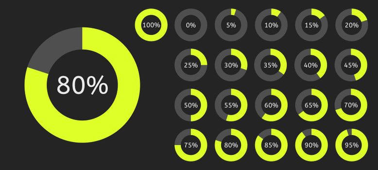 Circle pie chart. Infographic percent circular diagram. Vector illustration 0 to 100 ready-to-use.