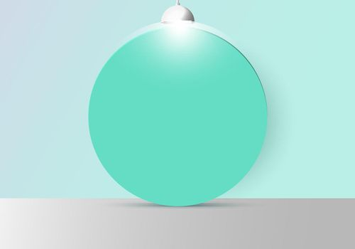 3D realistic empty studio room with green circle backdrop and lamp on soft green mint background