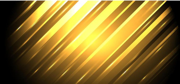 Abstract background golden diagonal stripes lines with glowing light