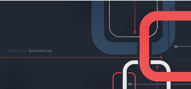Banner web template design rounded squares geometric blue and red on black background