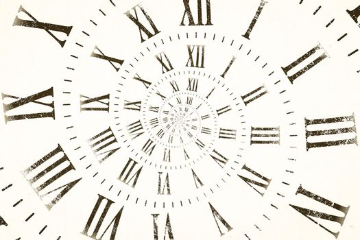 Droste effect background with infinite clock spiral. Abstract design for concepts related to time and deadline.