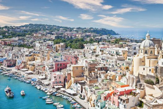 PROCIDA, ITALY - CIRCA AUGUST 2020: panoramic view of the mediterranean Italian island close to Naples in a summer day.