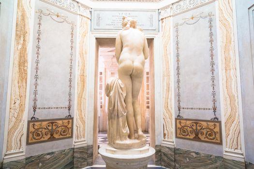 ROME, ITALY - CIRCA AUGUST 2020: Roman antique statue of Capituline Venus in marble.