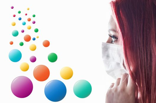 Template infographics of falling colorful balls and portrait of woman with medical mask.