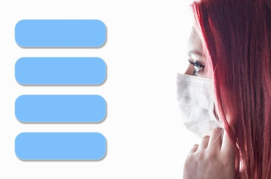 Template infographics of four blue rectangles and portrait of woman with medical mask.