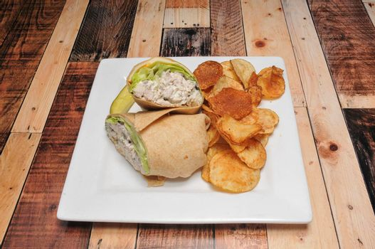Delicious American lunch cuisine known as the chicken salad wrap