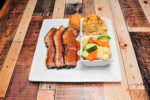 Delicious American cuisine known as beef brisket