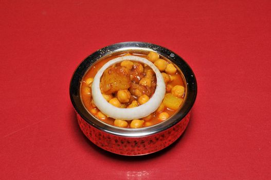 Delicious Indian food known as Aloo Chana Masala