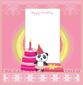 Happy Birthday Card, girlish invitation with cute panda