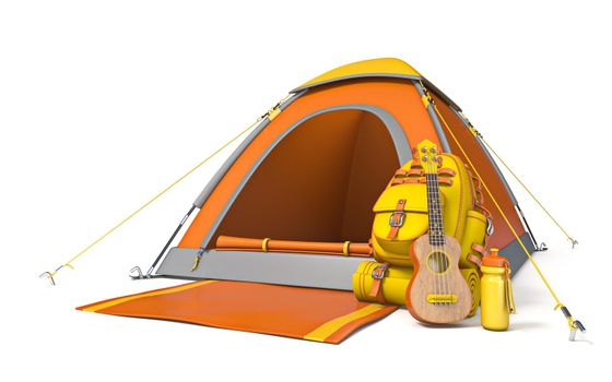 Picnic and camping site with backpack and ukulele 3D