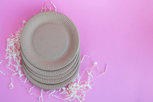 Eco-friendly background on pink background. The concept of a sustainable, environmentally friendly lifestyle.
