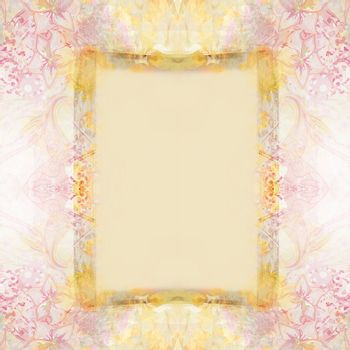 Vintage Grunge Frame For Congratulation With Flowers
