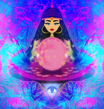 Fortune teller woman with tarot cards and a crystal ball