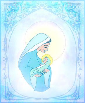 Madonna and child Jesus - Christmas card
