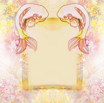 Japanese koi fish decorative floral frame
