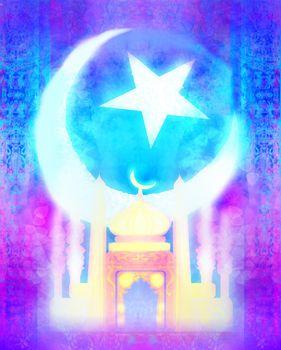 Ramadan Kareem holiday greeting card design.