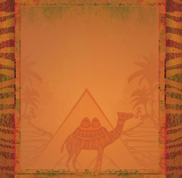 Vintage frame with pyramids and camel
