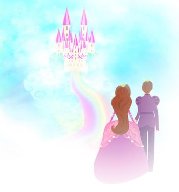 beautiful Castle in clouds and princess with prince