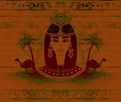 old paper with Egyptian queen - artistic grunge background