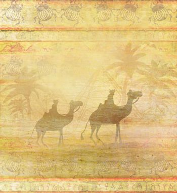 Camel train silhouetted against sky crossing the Sahara Desert - abstract grunge card