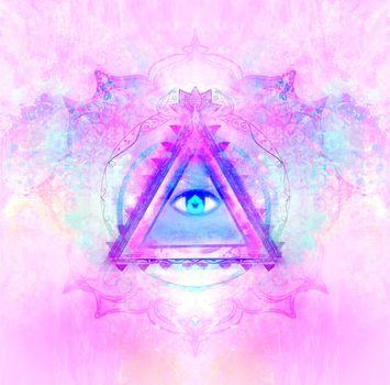 All seeing eye inside triangle pyramid.